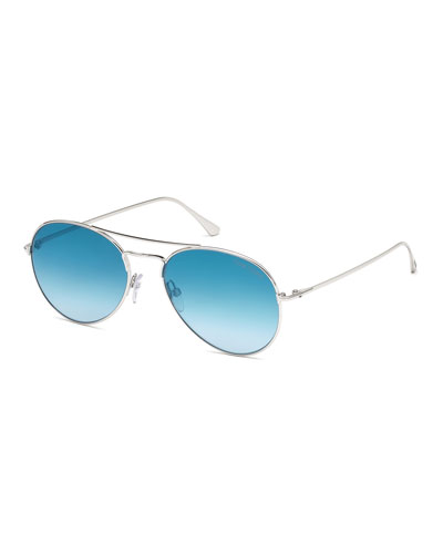 Ace Metal Pilot Sunglasses, Shiny Rhodium/Gradient Light Blue