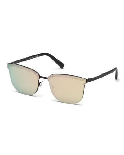 Rectangular Chevron Sunglasses, Matte Black/Roviex/Rose Gold