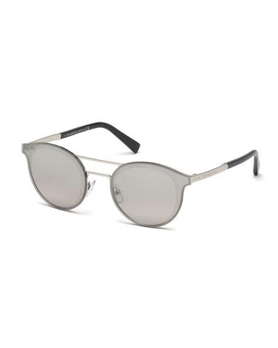 Round Double-Bridge Flash Sunglasses, Shiny Palladium/Gray Gradient