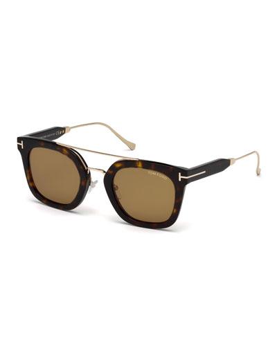 Alex Acetate & Metal Square Sunglasses, Dark Havana/Shiny Rose Gold/Vintage Brown