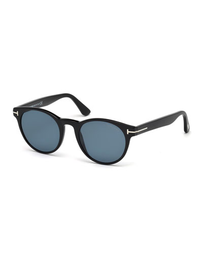 Palmer Polarized Round Acetate Sunglasses, Black/Blue