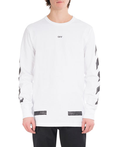 Brushed Diagonal Arrows Long-Sleeve Cotton T-Shirt