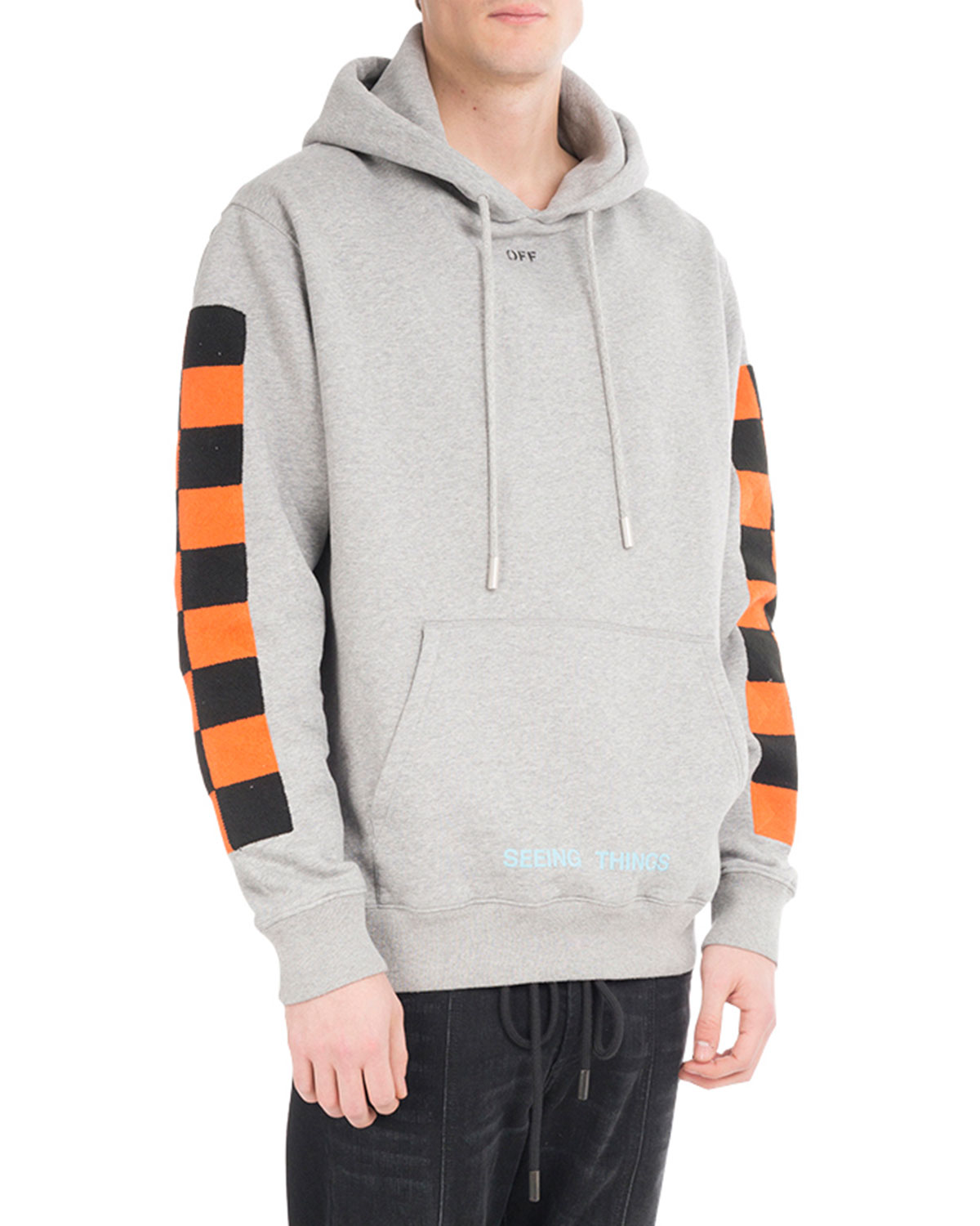 Checker-Sleeve Cotton Hoodie