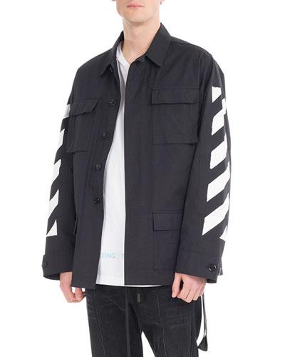 Brushed Diagonal Arrows Field Jacket