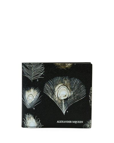 Peacock Feather Leather Bi-Fold Wallet, Black/White