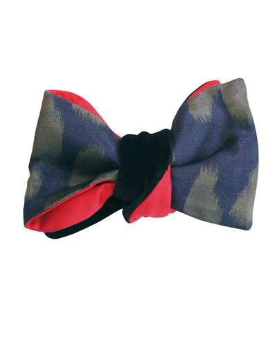 Panthera Reversible Velvet Bow Tie