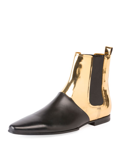 Artemis Metallic Leather Chelsea Boot, Black/Gold