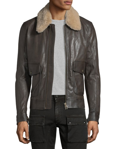 Mentmore Shearling-Trim Leather Bomber Jacket
