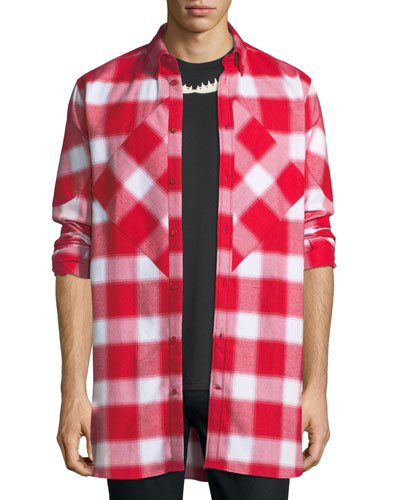 Pieced Blurry Plaid Button-Front Shirt