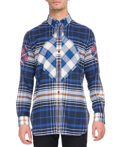 Mixed Plaid Flannel Shirt