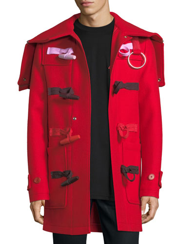 Hooded Wool Toggle Coat