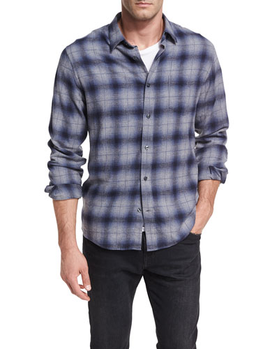 Shadow Plaid Cotton Shirt