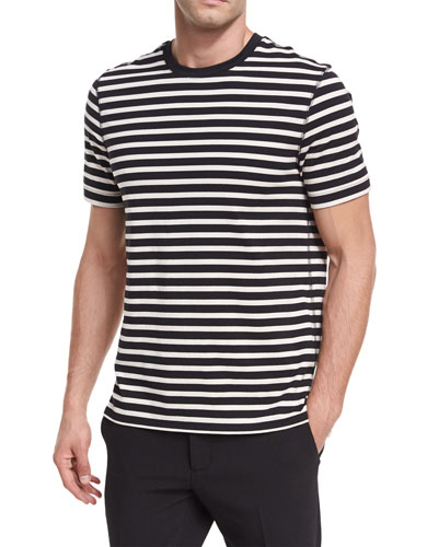 Striped Jersey Crewneck T-Shirt