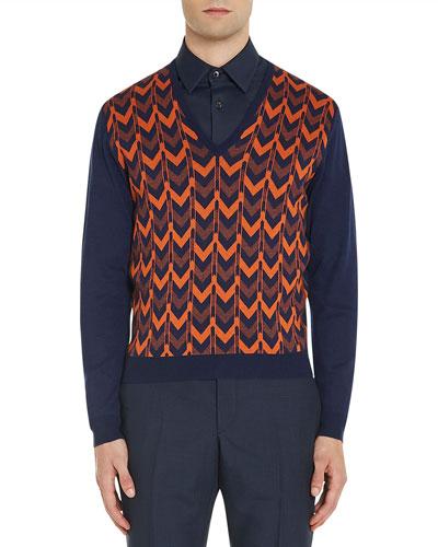 Chevron Knit V-Neck Sweater