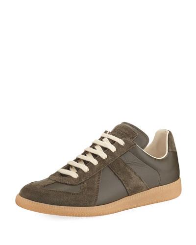 Replica Leather & Suede Low-Top Sneaker, Green