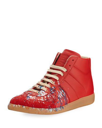 Replica Paint-Splatter Leather Mid-Top Sneaker, Red