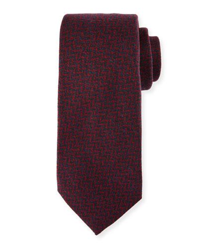 Chevron Wool-Silk Tie, Red