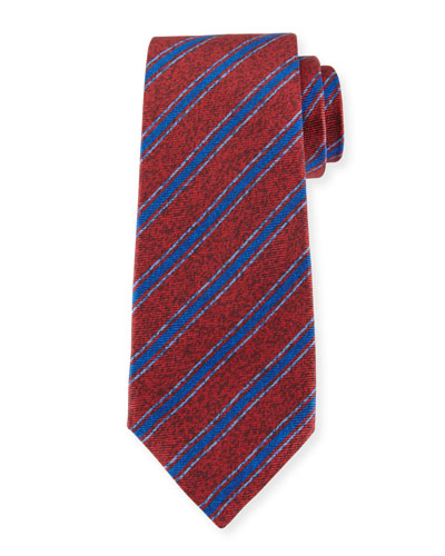 Diagonal-Stripe Silk Tie, Red