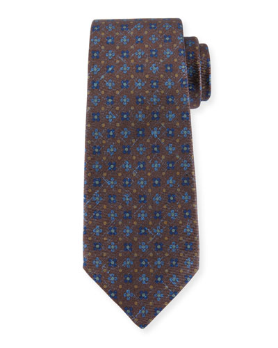 Four-Petal Floral-Print Silk Tie, Brown