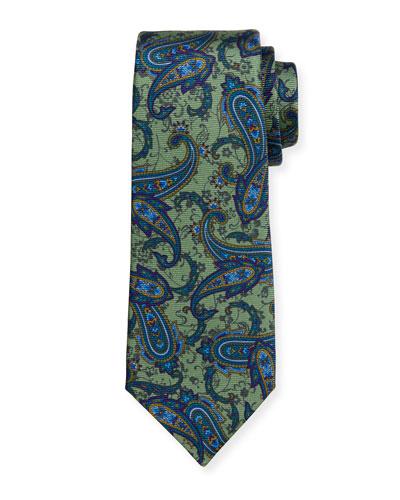 Paisley-Print Silk Tie, Green