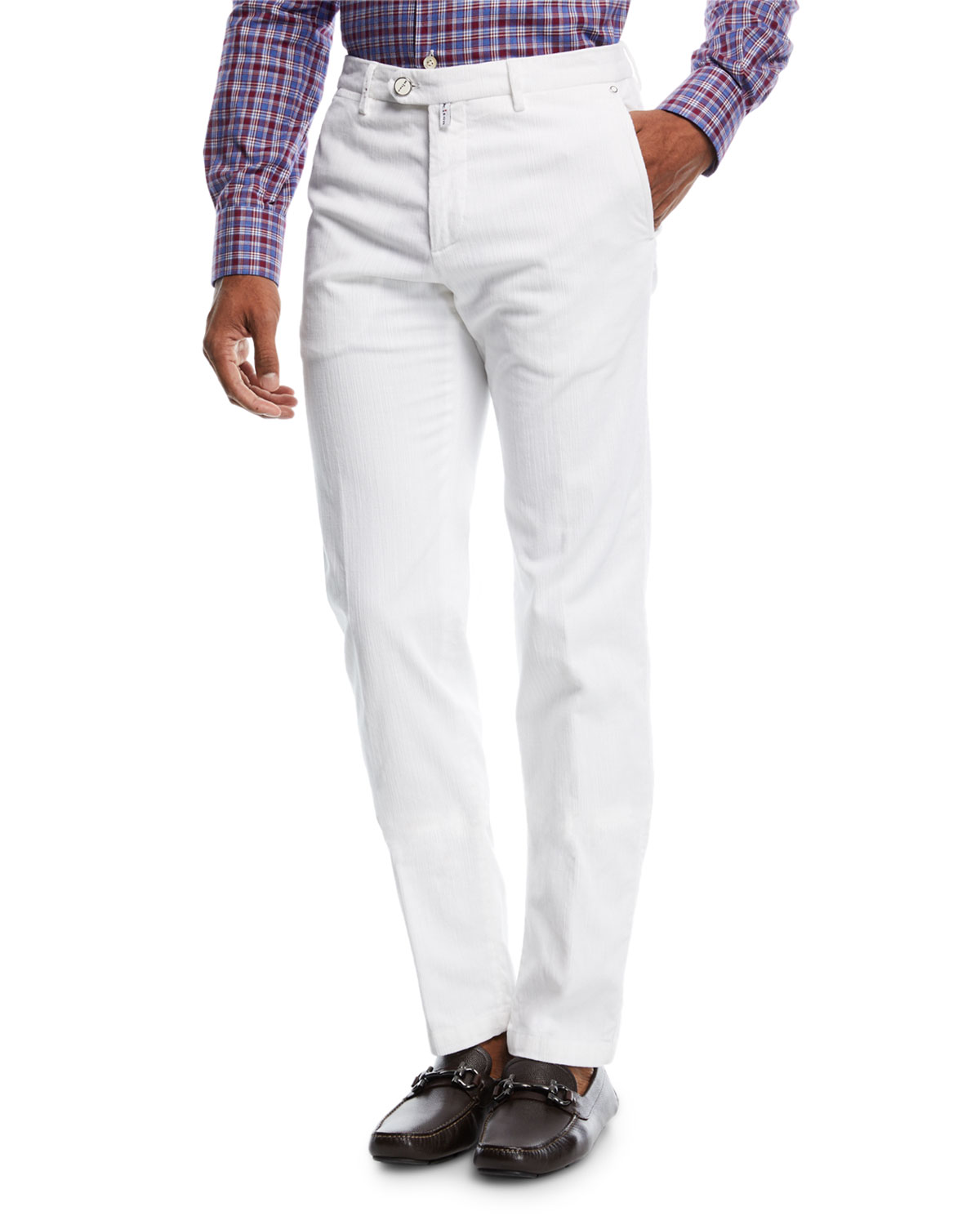 Kiton Pants CORDUROY STRAIGHT-LEG PANTS, WHITE