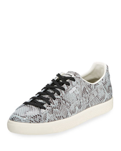 Men's Clyde Snakeskin-Embossed Leather Low-Top Sneaker, Gray