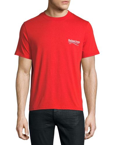 Cotton mens short sleeve tee for Balenciaga t shirt red