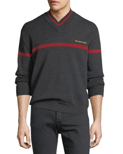 Logo Stripe V-Neck Sweater