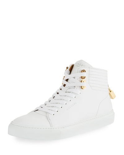 100mm Link Leather Mid-Top Sneaker