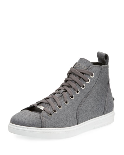 Men's Star-Stud Flannel High-Top Sneaker