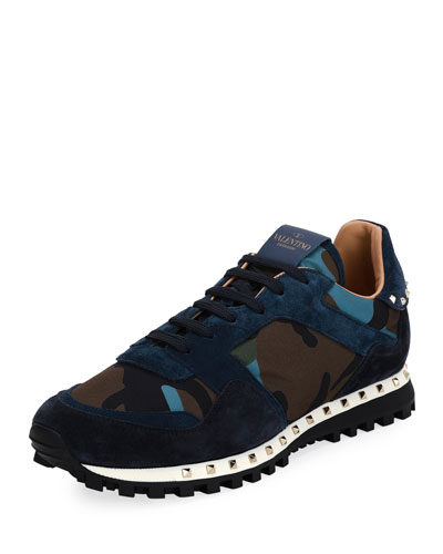 Rockrunner Camo Neoprene & Suede Trainer Sneaker
