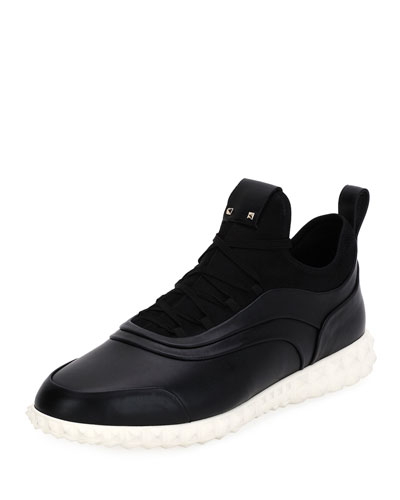 Rockstud Leather Trainer Sneaker