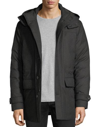 Wool Flap-Pocket Coat w/ Removable Hood