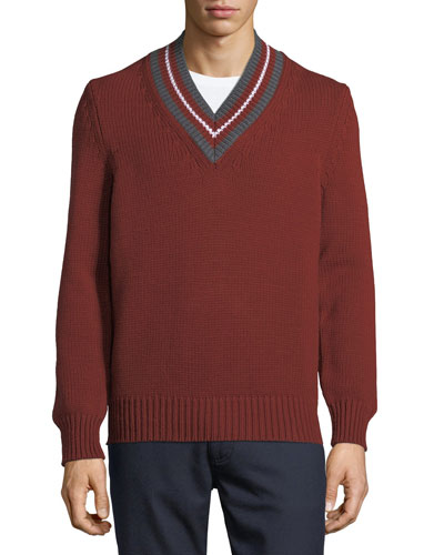 Stripe-Neck Wool Sweater