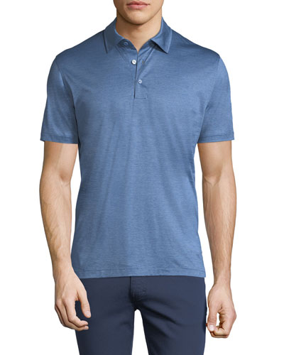 Micro-Stripe Cotton Polo Shirt