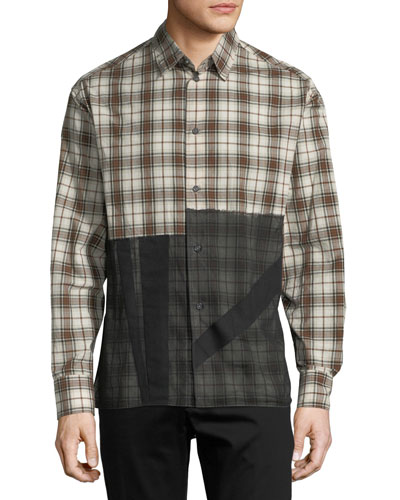 Patchwork Plaid Sport Shirt
