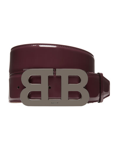 Bally Mirror B Patent Leather Belt, Red