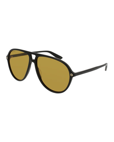 Oversized Acetate Aviator Sunglasses, Black