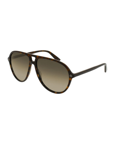 Oversized Acetate Aviator Sunglasses, Brown