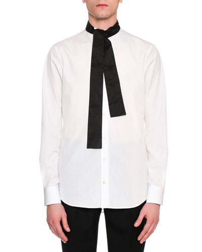 Tie-Collar Cotton Shirt