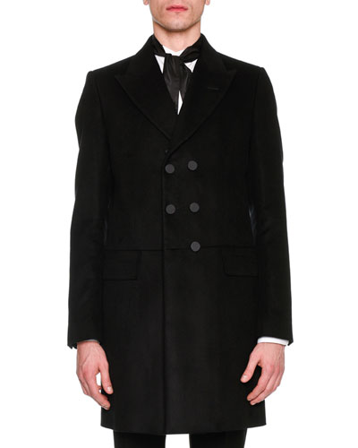 Fur-Trim Double-Breasted Coat