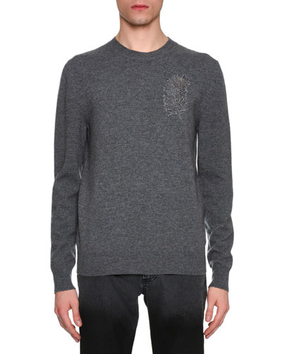 Beaded Feather Wool-Cashmere Crewneck Sweater