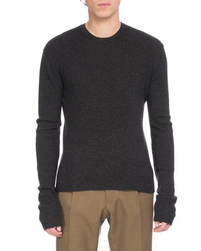 Ribbed Cashmere Crewneck Sweater, Gray