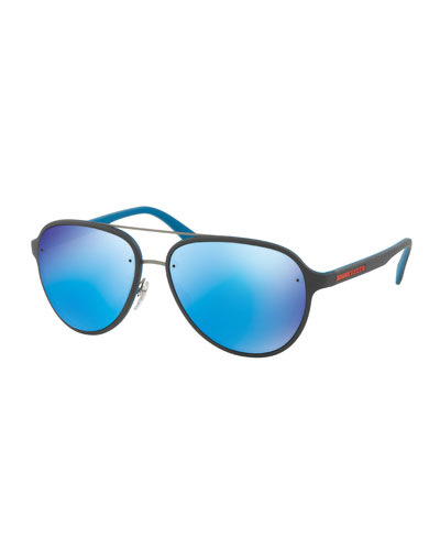 Linea Rossa Men's Aviator Sunglasses, Gray/Blue