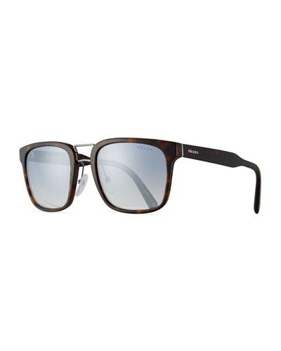 Men's Oversized Square Acetate Sunglasses, Brown Tortoiseshell