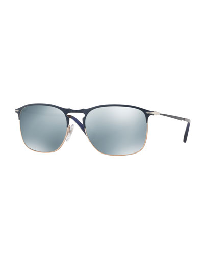 PO7359S Mirrored Rectangular Sunglasses, Blue