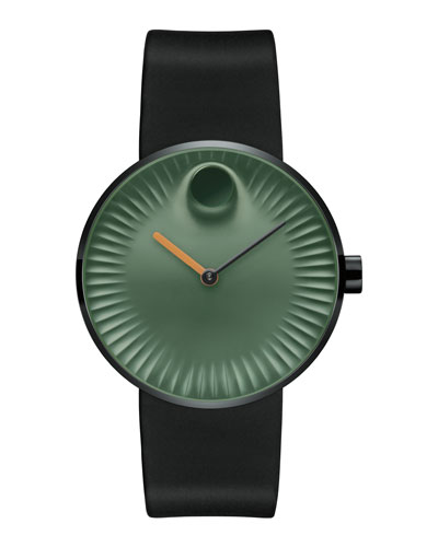 40mm Edge Watch with Silicone Strap, Black/Green