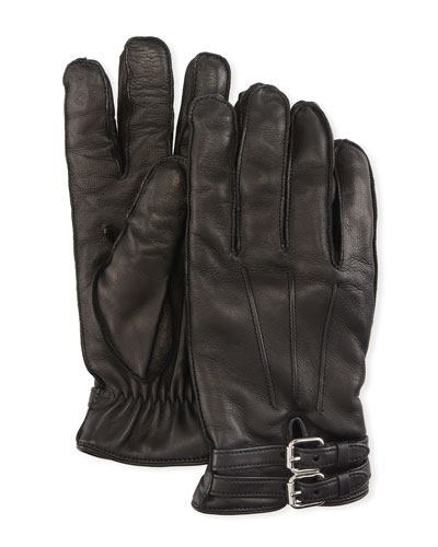Belted Napa Leather Gloves with Cashmere Lining