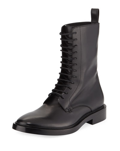 Lace-Up Leather Combat Boot