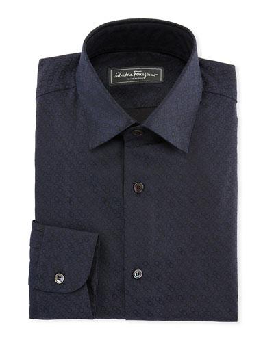 Gancini Jacquard Cotton Sport Shirt